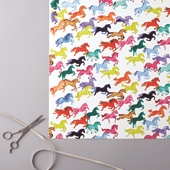 Prancing Rainbow Ponies Gift Wrap (2 Sheets)