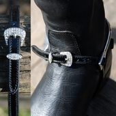Spur Straps Patent Leather Diamante Buckle
