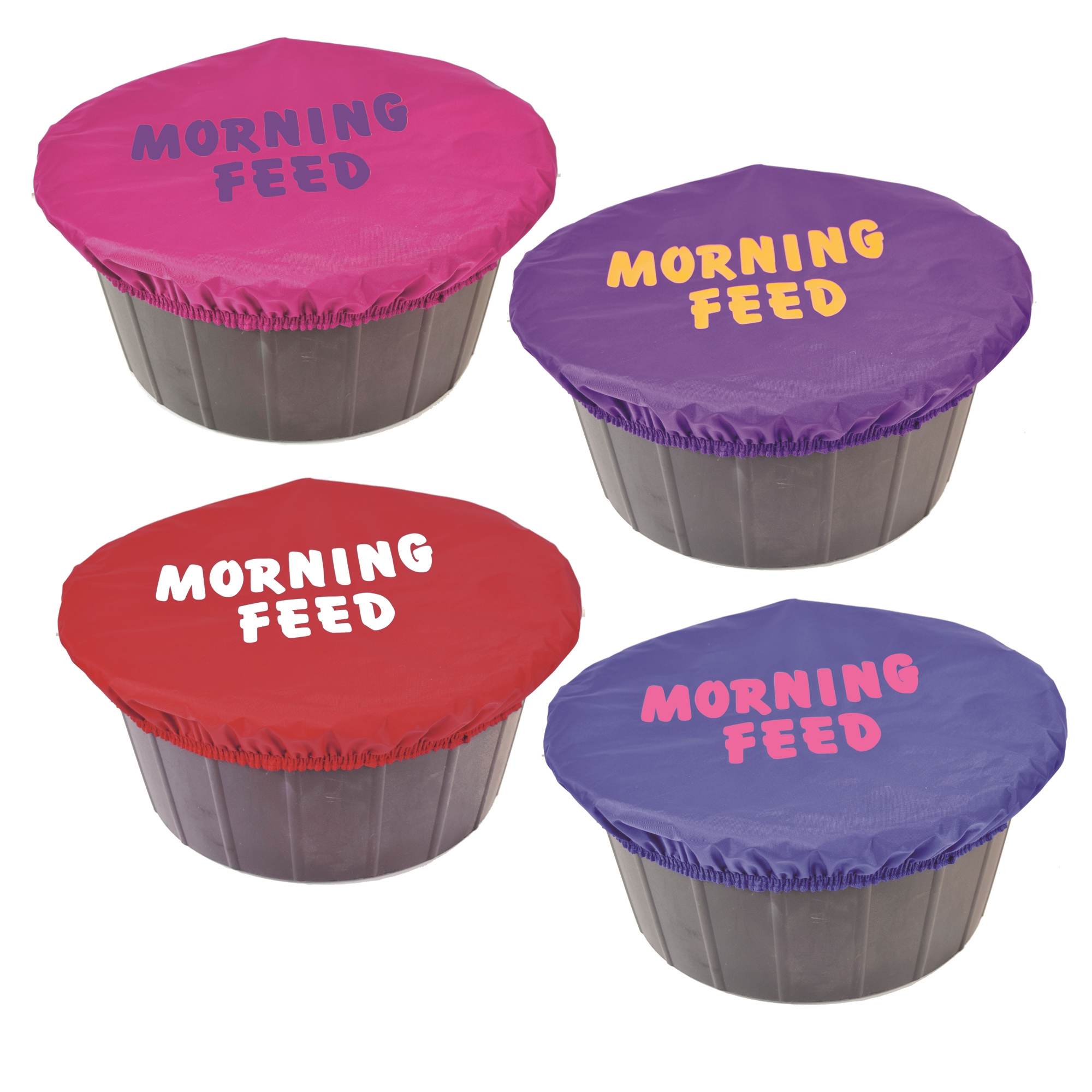 Large Rubber Horse Water Tubs: Printed Bucket Cover Morning Feed